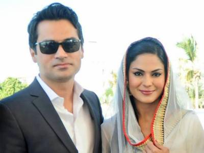 وینا ملک اور ان کے شوہر کی عمران خان کے جلسے میں شرکت