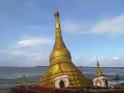 میانمار،بودھوں کی عبادت گاہ سیلاب میں بہہ گئی