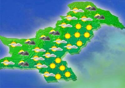 آئندہ 24 گھنٹوں میں ملک کے اکثر حصوں میں موسم گرم اور مرطوب رہے گا