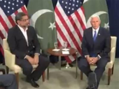امریکی نائب صدر کی شاہد خاقان عباسی سے ملاقات، خطے کی سلامتی کیلئے پاکستان کے ساتھ مل کر کام کرنا چاہتے ہیں: مائیک پنس