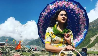 سارہ علی خان کی فلم ''کیدارناتھ'' کے سیٹ پر بنائی گئی تصویر جاری