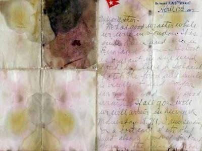 ٹائی ٹینک مسافر کی جیب سے ملنے والا خط ایک کروڑ 66 لاکھ روپے میں نیلام