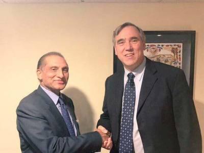 اعزاز چوہدری کی امریکی سینیٹر مارکلے سے ملاقات ،امریکہ کی جنوبی ایشیا کے حوالے سے نئی پالیسی پر پاکستانی موقف سے آگاہ کیا