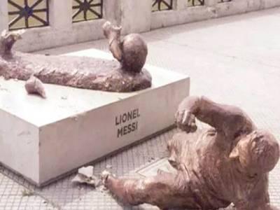 لائنل میسی کا مجسمہ ایک مرتبہ پھر نامعلوم افراد کا نشانہ