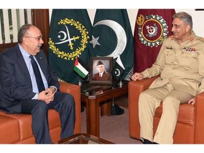 آرمی چیف سے فلسطینی سفیر ابو علی کی ملاقات، مسئلہ فلسطین پر تبادلہ خیال