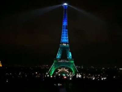 پیرس میں ون پلینیٹ سمٹ کے موقع پر ایفل ٹاور کا سبزنیلا لشکارا