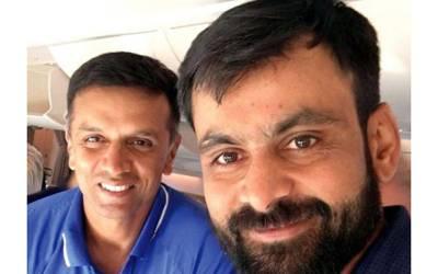 کرکٹر حفیظ سے سابق بھارتی اسٹار راہول ڈریوڈ کی ملاقات کی،طیارے میں بنائی گئی تصویر سوشل میڈیا پر وائرل
