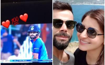 """ویرات کوہلی کی شادی کے بعد پہلی سنچری پر انوشکا شرما نے بھی """"چھکا"""" دے مارا، میچ کے بعد ایسے طریقے سے مبارکباد دیدی کہ سوشل میڈیا پر دھوم مچ گئی"""