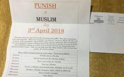 برطانیہ، مسلمانوں پرحملے کے لئے اکسانے والا خط تقسیم