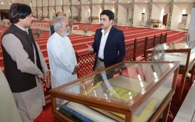 قرآن مجید کے انتہائی نادر اور نایاب نسخے زیارت کے لیے فیصل مسجد میں رکھ دیئے گئے ،ممبر سی ڈی اے محمد یاسر پیرزادہ کی نسخہ جات کی حفاظت کے لئے اہم اقدامات