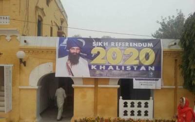 سکھ یاتریوں نے ننکانہ صاحب میں خالصتان ریفرنڈم 2020کے بینرز لگادئیے