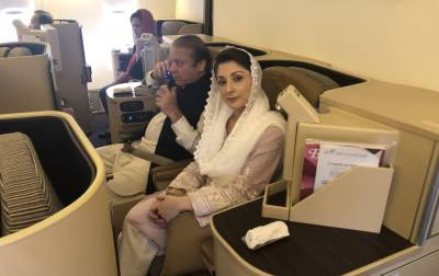 نواز شریف اور مریم نواز کا طیارہ لاہور ائیرپورٹ پر لینڈ کر گیا، کچھ دیر میں گرفتاری متوقع