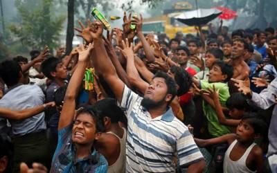 جبری ملک بدری کی پہلی برسی ، مظلوم روہنگیا مسلمانوں نے بنگلہ دیش میں احتجاجی مظاہرہ کرکے منائی
