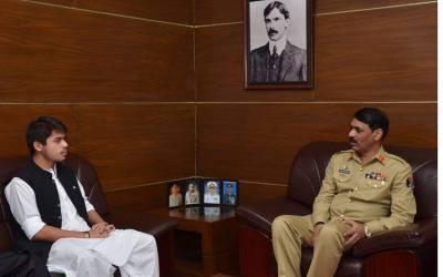 شہید سراج رئیسانی کے صاحبزادے نواب زادہ جمال خان رئیسانی کی ڈی جی آئی ایس پی آر میجر جنرل آصف غفور سے ملاقات