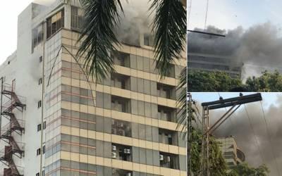 ایم ایم عالم ر وڈ پر پلازہ میں لگنے والی آگ پر قابو پا لیا گیا ، بلڈنگ کلیئر قرار ، چھلانگ لگانے والا شخص ہسپتال میں چل بسا