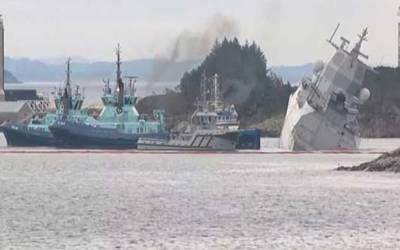 نارو ے، نیٹو مشقوں کے دوران جنگی بحری جہاز آئل ٹینکر سے ٹکرا کر ڈوب گیا
