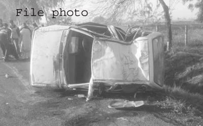 نارووال،تیز رفتا کار الٹنے سے ایک شخص جاں بحق، تین زخمی