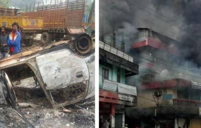 بھارتی ریاست اروناچل پردیش میں نائب وزیراعلیٰ کے گھر کے باہر احتجاج شدت اختیار کرگیا، گاڑیاں نذر آتش، کرفیو لگانا پڑ گیا