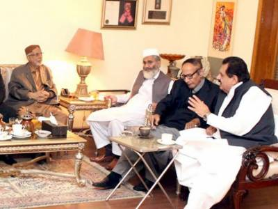 چودھری شجاعت حسین سے سینیٹر سراج الحق کی ملاقات، سیاسی صورتحال پر تبادلہ خیال