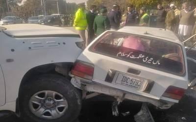 امریکی سفارتخانے کی تیز رفتار گاڑی کی ٹکر، کار سوار ایک خاتون جاں بحق، 4 زخمی