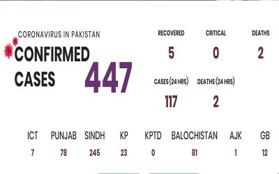 پاکستان میں کرونا متاثرین میں اضافہ، مجموعی تعداد 447 ہوگئی