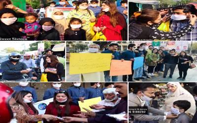کرونا وائرس کے خلاف جنگ ، پاکستانی صحافی میدان میں آگئے، لوگوں میں ایک لاکھ ماسک تقسیم کردیے