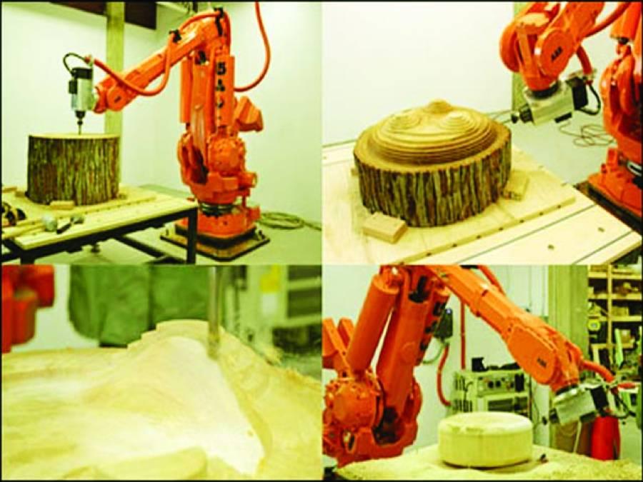 نیویارک، لکڑی پر دلکش نقاشی کرنے والی روبوٹک مشین!!