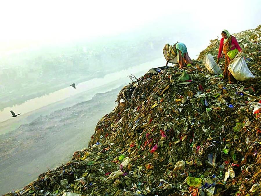 نئی دہلی: خواتین کوڑے میں سے اشیاءڈھونڈ رہی ہیں