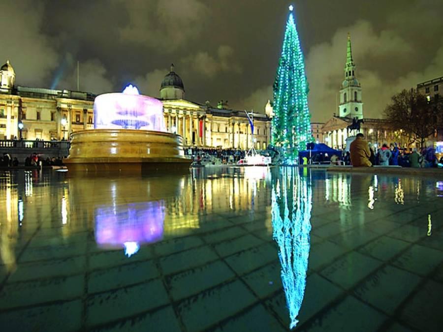 لندن: روشنی سے جگمگاتے ہوئے درخت کا عکس پانی میں نظر آ رہا ہے