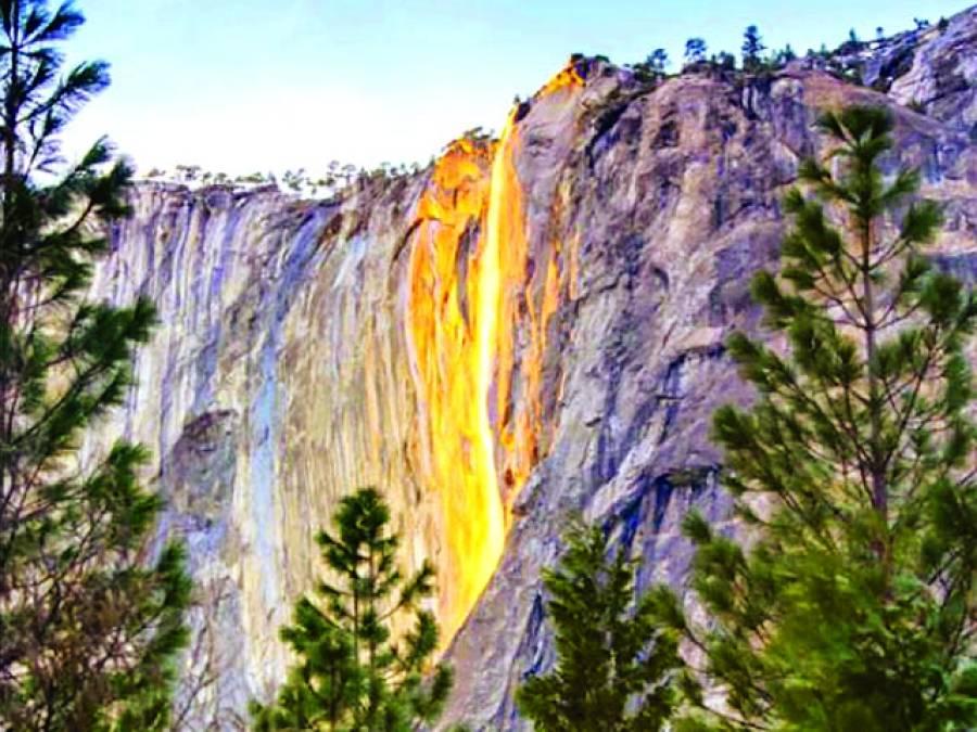 دہکتے لاوے کی طرح چمکنے والی آبشار،خوبصورت نظارہ