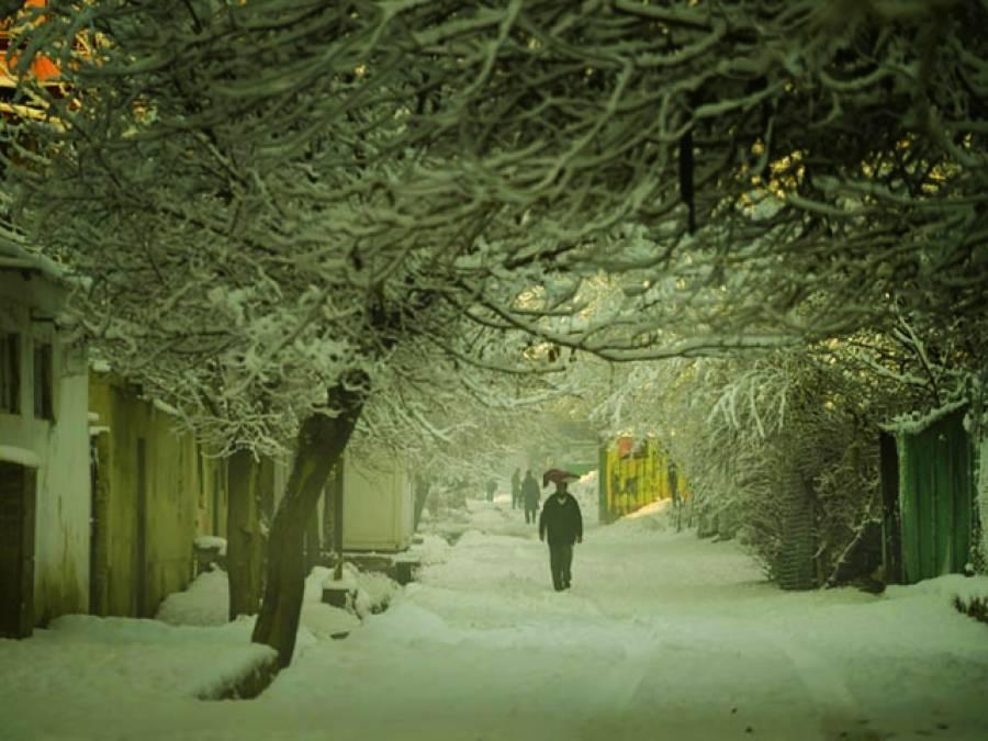 کابل:افغان دارالحکومت میں موسم سرما کی پہلی برف کے باعث درختوں اور راستوں میں برف نظر آ رہی ہے