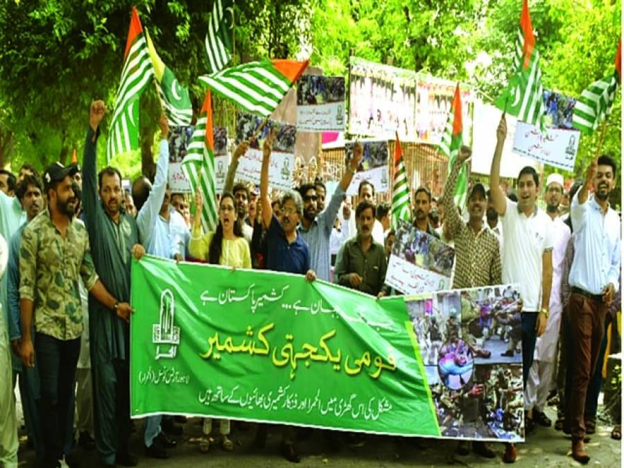 لاہور آرٹس کونسل الحمرا میں یوم یکجہتی کشمیر کے موقع پر واک