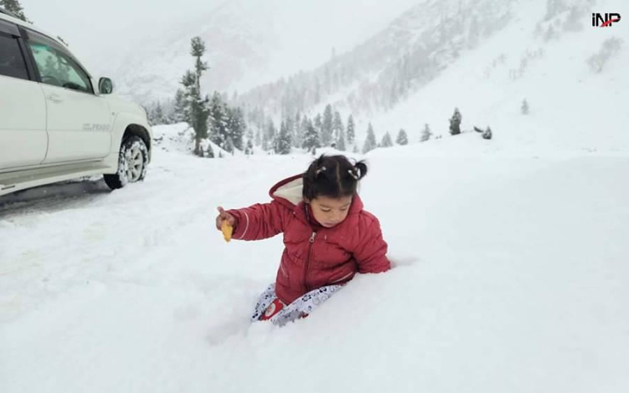 گلگت میں پہلی برفباری کے خوبصورت مناظر