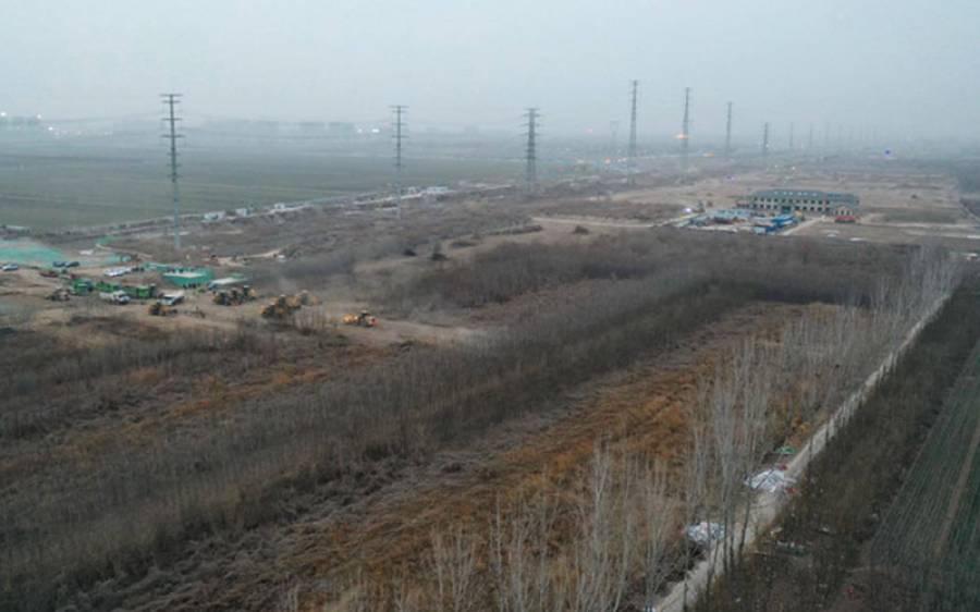 چین کے شمالی صوبے ہیے کے صدر مقام شی جیا ژوآنگ میںمرکزی طبی نگرانی مرکز کی تعمیر کا فضائی منظر دیکھا جاسکتا ہے (شنہوا)