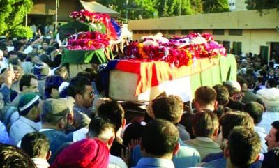 کراچی،شہید ایس پی سی آئی ڈی چودھری اسلم اور ساتھیوں کی میتیں نماز جنازہ کیلئے لائی جا رہی ہیں