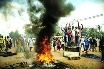 وسطی افریقہ جمہوریہ: حکومت کے خلاف مظاہرین ٹائروں کوآگ لگا کر احتجاج کر رہے ہیں