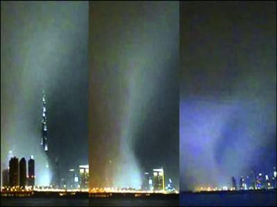 دبئی،طوفان بادوباراں، دنیا کی سب سے اونچی عمارت بادلوں میں غائب