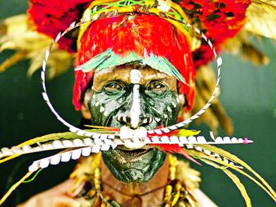 جنوبی افریقہ: ایک قبائلی نے خود کو تہوار کے موقع پر روایتی طریقے سے سجایاہواہے