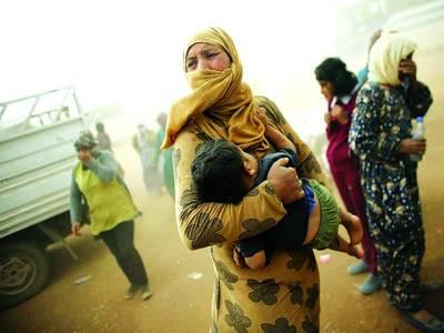 دمشق: کردش شامی خاتون مہاجر کیمپ میں امداد کی منتظر ہے