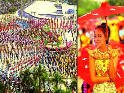 ینان: چینی باشندے سالانہ چھتری ڈانس میں شریک ہیں، چھتری ڈانس میں دس ہزار سے زائد افراد نے شرکت کرکے نیا عالمی ریکارڈقائم کر دیا