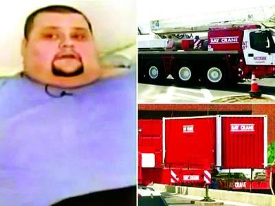 موٹے کوہسپتال منتقل کرنے کے لئے کرین اور ٹرک منگوانا پڑگیا