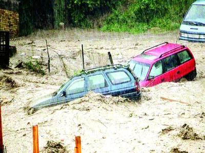 بلغاریہ: شدید طوفانی بارش میں گاڑیاں ڈوبی ہوئی ہیں