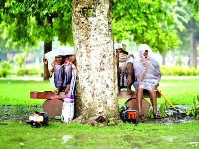 نئی دہلی: لوگ بارش سے بچاؤ کیلئے درخت کے نیچے بیٹھے ہیں