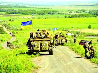 کیف:یوکرائنی فوجی ایک علاقے میں گشت پر مصروف ہیں