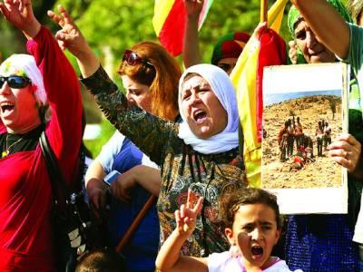 بیروت: خواتین دہشت گردوں کے خلاف نعرے بازی کر رہی ہیں