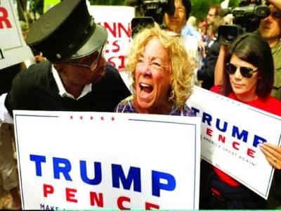 میڈرڈ: لوگ امریکی صدر ڈونلڈ ٹرمپ کے خلاف مظاہرہ کر رہے ہیں